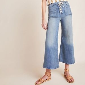 NEW Mother Lace Up Roller Crop Jeans Anthropologie